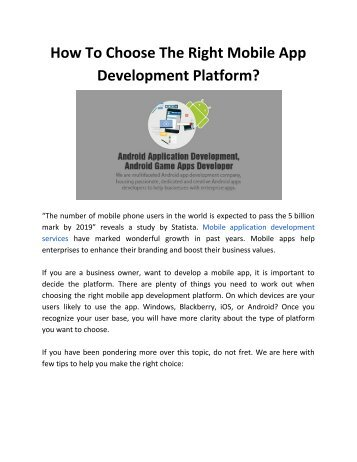 How To Choose The Right Mobile App Development Platform?