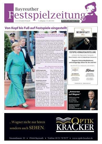 Festspielzeitung 2018 - Sonderausgabe der Bayreuther Sonntagszeitung