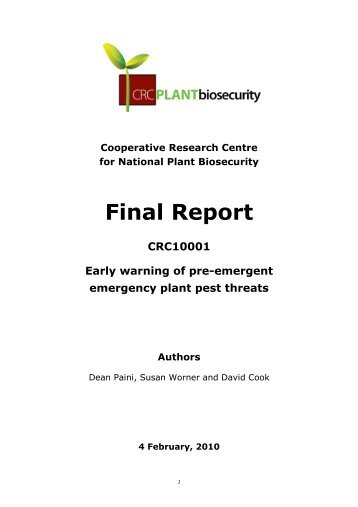 Early warning of pre-emergent emergency plant pest