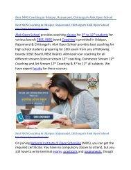 Best NIOS Coaching in Udaipur, Rajsamand, Chittorgarh Alok Open School