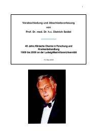 Abschiedsvorlesung - Prof. Dr. med. Dr. hc Dietrich Seidel