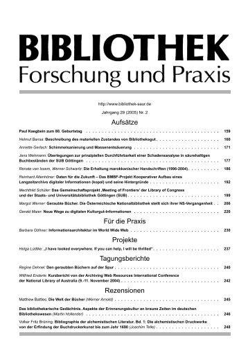 Aufsätze Für die Praxis Projekte Tagungsberichte Rezensionen