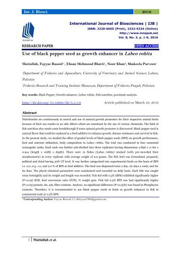 Use of black pepper seed as growth enhancer in Labeo rohita
