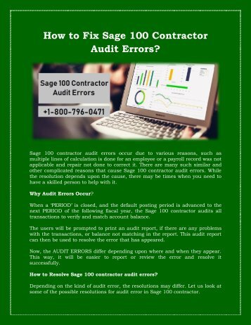 1800-796-0471: How to Fix Sage 100 Contractor Audit Errors?