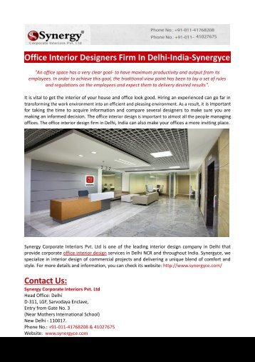 Office Interior Designers Firm In Delhi-India-Synergyce