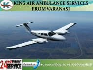 King Air ambulance emerging emergency Services for patient transporting in Varanasi