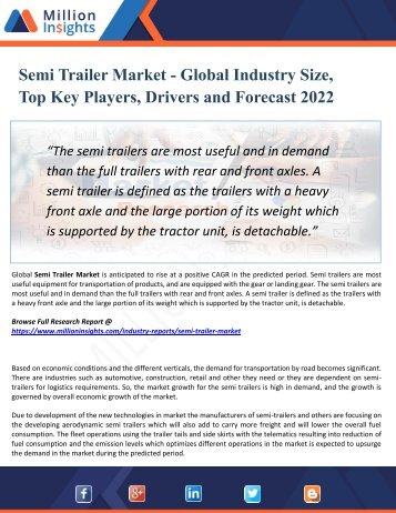 Semi Trailer Market Segmentation and Analysis by Recent Trends, Development and Growth by Trending Regions 2022