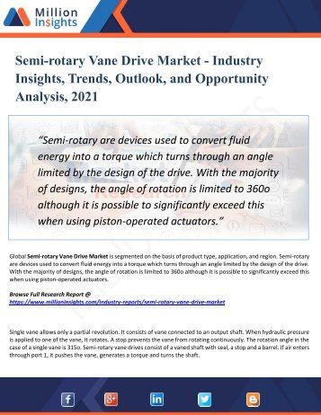 Semi-rotary Vane Drive Market Analysis, Share and Size, Trends, Industry Growth And Segment Forecasts To 2021