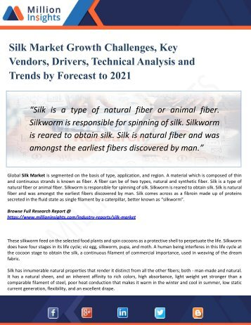 Silk Market Manufacturing Cost Analysis, Key Raw Materials, Price Trend, Industrial Chain Analysis by 2021