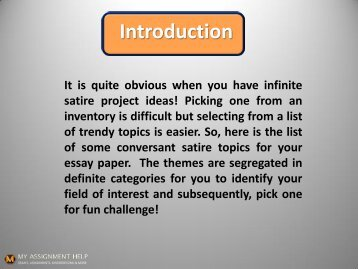Satirical Essay Topics