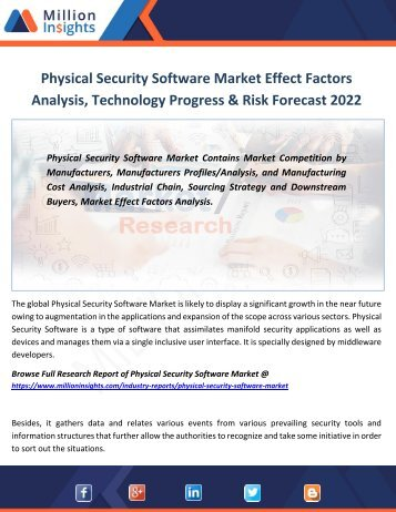 Physical Security Software Market Effect Factors Analysis, Technology Progress & Risk Forecast 2022
