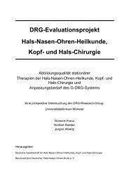 DRG-Evaluationsprojekt Hals-Nasen-Ohren-Heilkunde, Kopf- und ...