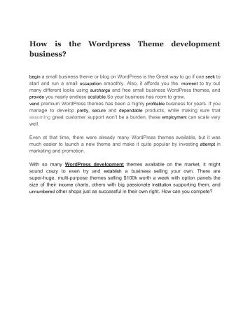 How is the Wordpress Theme development business_