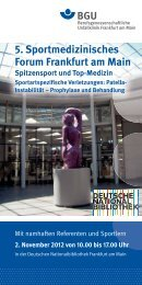 5. Sportmedizinisches Forum Frankfurt am Main Spitzensport und Top ...