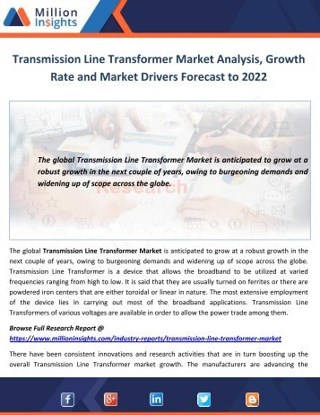 Transmission Line Transformer Market Analysis, Growth Rate and Market Drivers Forecast to 2022