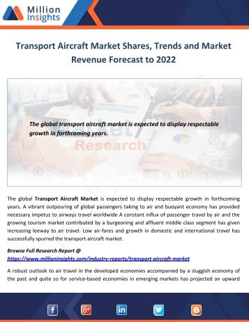 Transport Aircraft Market Shares, Trends and Market Revenue Forecast to 2022