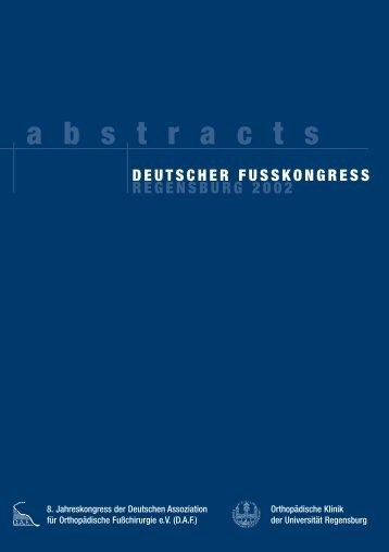 Deutscher fusskongress regensburg 2002 - 19. Jahrestagung der ...