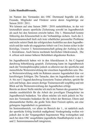 Liebe Handballfreunde, im Namen des Vorstandes des OSC ...