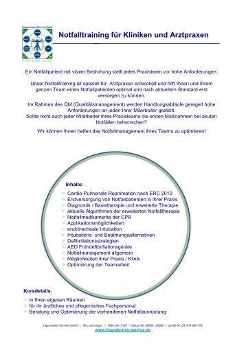 Notfalltraining für Kliniken und Arztpraxen - ROGG Verbandstoffe