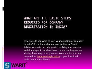 What Are The Basic Steps Required For Company Registration In India?