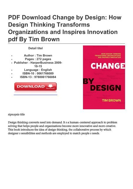 Change By Design How Design