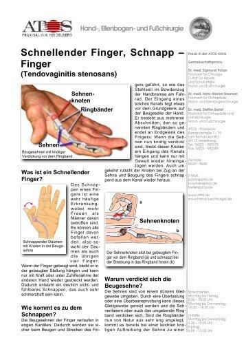 Schnellender Finger, Schnapp – Finger - und Fußchirurgie