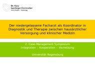 Der niedergelassene Facharzt als Koordinator in Diagnostik und