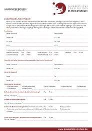 AnAmnesebogen - Zahnärztliche Praxisklinik Dr. Stein & Kollegen