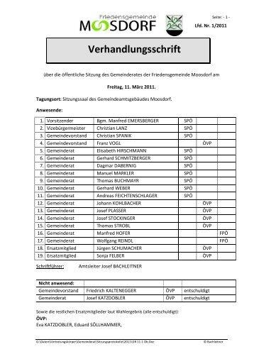 Verhandlungsschrift - Moosdorf