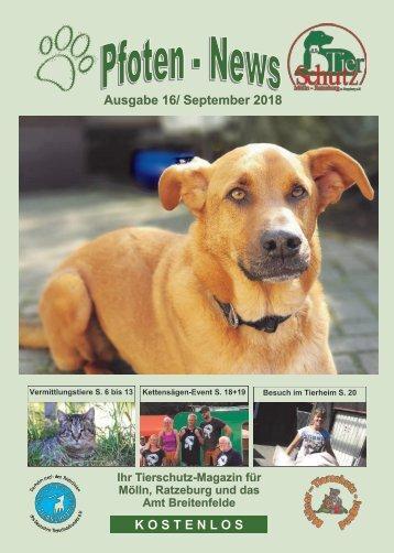 Pfoten-News Ausgabe 16, September 2018