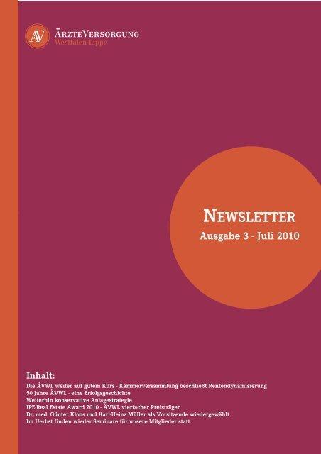 NEWSLETTER Ausgabe 3 - Ärzteversorgung Westfalen-Lippe