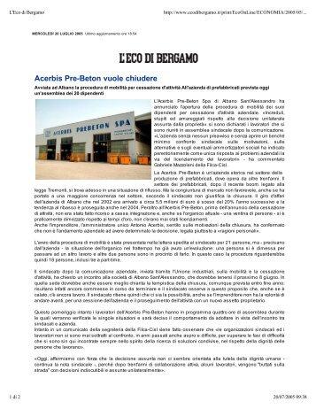 Acerbis Pre-Beton vuole chiudere - Comune di Albano Sant ...