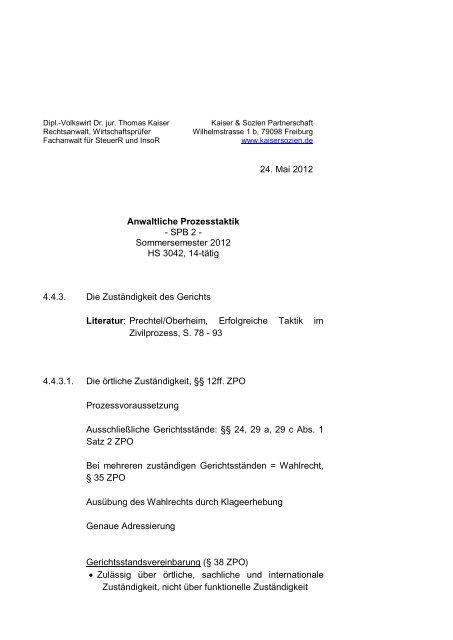 24 Mai 2012 Anwaltliche Prozesstaktik Spb 2 Kaiser Sozien