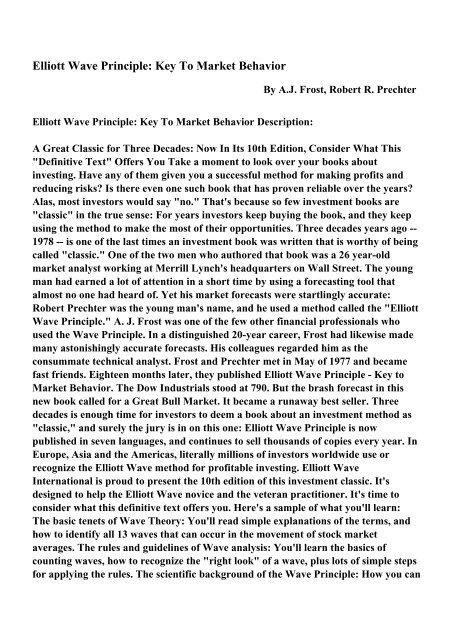 Elliott Wave Principle: Key To Market Behavior - PDF eBooks