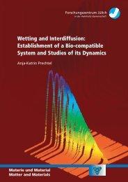 Wetting and Interdiffusion: Establishment of a Bio-compatible ...