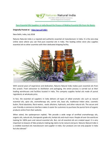 Pure Essential Oils Suppliers in India Reveal the Process of Making Essential Oils from the Basics