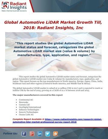 Global Automotive LiDAR Market Growth Till, 2018 Radiant Insights, Inc