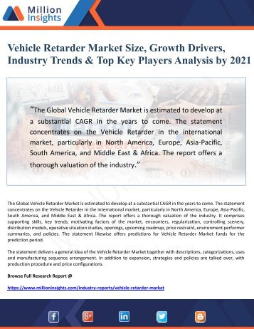 Vehicle Retarder Market Size, Growth Drivers, Industry Trends & Top Key Players Analysis by 2021