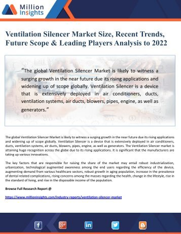 Ventilation Silencer Market Size, Recent Trends, Future Scope & Leading Players Analysis to 2022