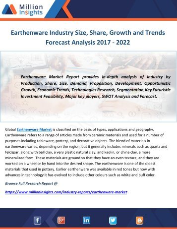 Earthenware Industry Size, Share, Growth and Trends Forecast Analysis 2017 - 2022