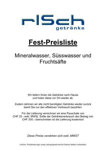 Gastro Preisliste alle Getränke 2012