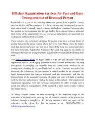 Efficient Repatriation Services for Fast and Easy Transportation of Deceased Person