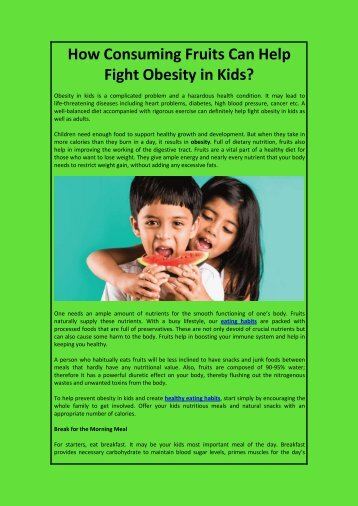 Consuming Fruits Can Help Fight Obesity in Kids