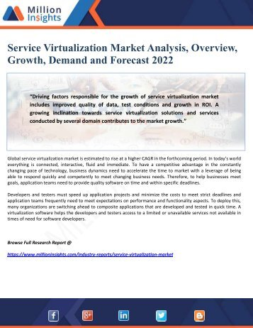 Service Virtualization Market Analysis, Overview, Growth, Demand and Forecast 2022
