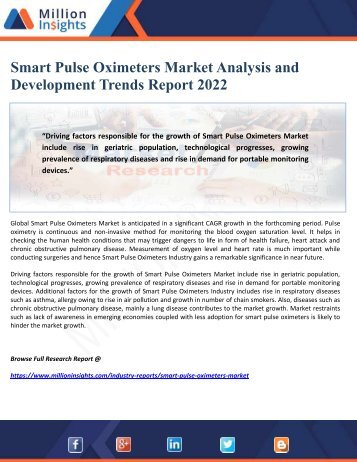 Smart Pulse Oximeters Market Analysis and Development Trends Report 2022