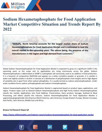 Sodium Hexametaphosphate for Food Application Market Competitive Situation and Trends Report By 2022