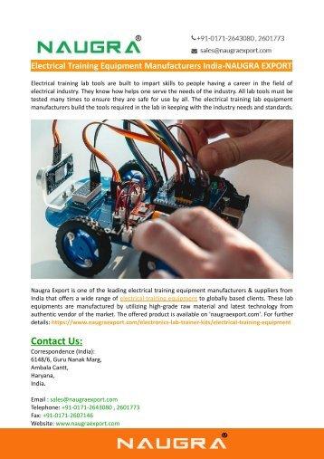 Electrical Training Equipment Manufacturers India-NAUGRA EXPORT