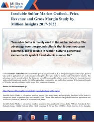 Insoluble Sulfur Market Outlook, Price, Revenue and Gross Margin Study by Million Insights 2017-2022