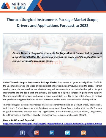 Thoracic Surgical Instruments Package Market Scope, Drivers and Applications Forecast to 2022