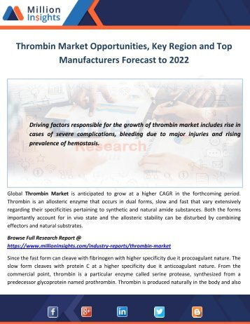 Thrombin Market Opportunities, Key Region and Top Manufacturers Forecast to 2022